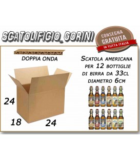 -SCATOLA AMERICANA PER 12 BOTTIGLIE DI BIRRA 33 cl